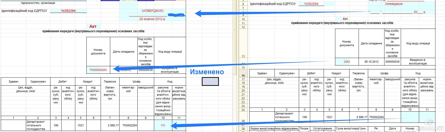 Печатная форма ОЗ-1 Ввод в эксплуатацию ОС для Бухгалтерия Украины